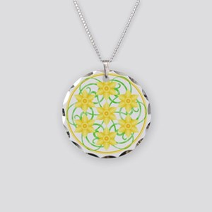 Daffodils Mandala Necklace Circle Charm