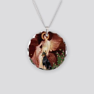 Seated Angel & Dobie Necklace Circle Charm