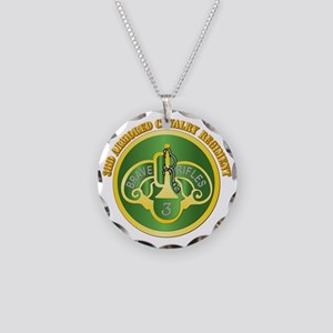 DUI - 3rd Cavalry Rgt with Text Necklace Circle Ch