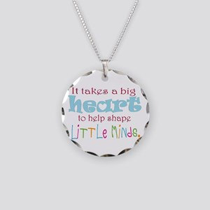 big heart: teacher, Necklace Circle Charm