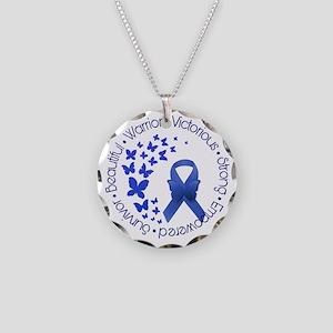 Blue Awareness Ribbon Necklace Circle Charm