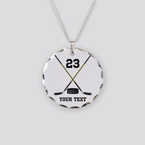 Ice Hockey Personalized Necklace Circle Charm