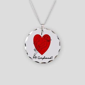 I Love My Greyhound! Necklace Circle Charm