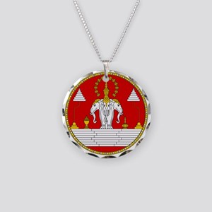 Laotian Royal Coat of Arms Necklace Circle Charm