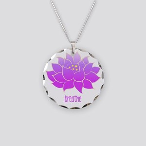 Breathe Lotus Necklace Circle Charm