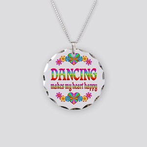 Dancing Happy Necklace Circle Charm