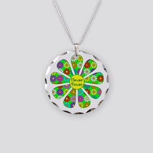 Cool Flower Power Necklace Circle Charm