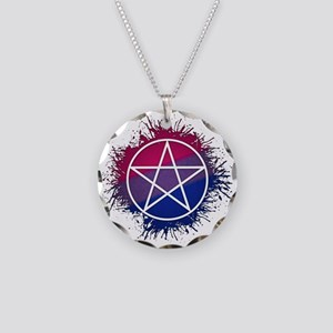 Bisexual Pride Pentacle Necklace Circle Charm