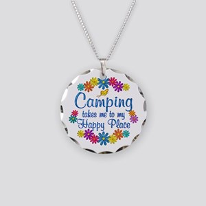Camping Happy Place Necklace Circle Charm