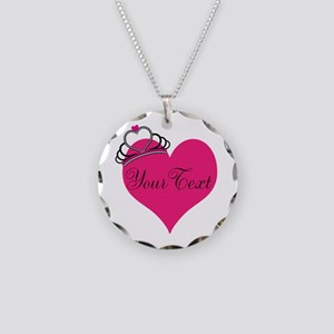 Personalizable Pink Heart with Crown Necklace