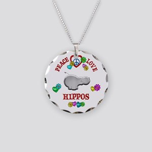 Peace Love Hippos Necklace Circle Charm