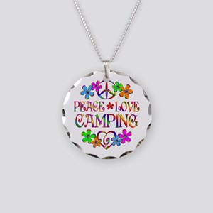 Peace Love Camping Necklace Circle Charm