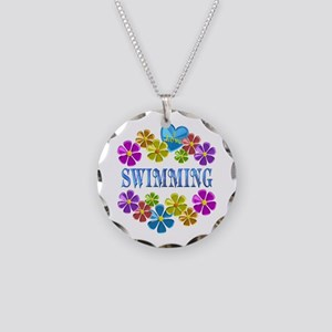 I Love Swimming Necklace Circle Charm