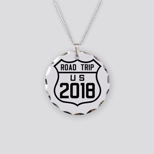 Road Trip US 2018 Necklace Circle Charm