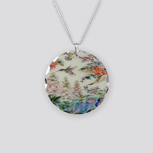 HUMMINGBIRD_STAINED_GLASS_8  Necklace Circle Charm