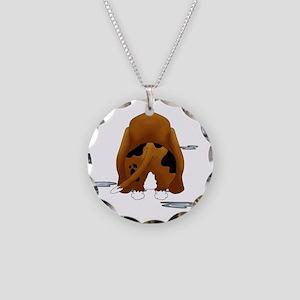 BassetDroolMirrorDark Necklace Circle Charm
