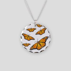 Monarch Butterflies Necklace Circle Charm