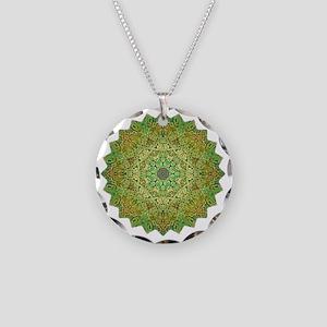 Green Gold Heart Chakra Mand Necklace Circle Charm