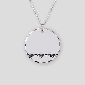 Mens mustang Necklace Circle Charm