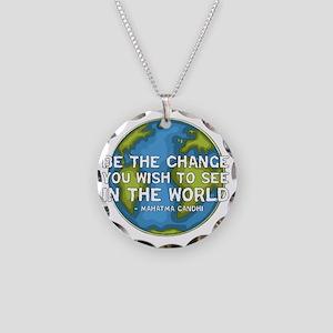gandhi_earth_bethechange_dar Necklace Circle Charm
