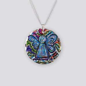 Colorful Cancer Angel Necklace Circle Charm