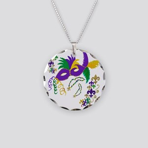 Mardi Gras Mask art Necklace Circle Charm
