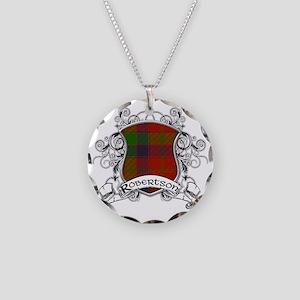 Robertson Tartan Shield Necklace Circle Charm