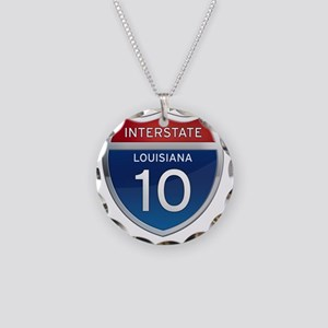 Interstate 10 - Louisiana Necklace Circle Charm