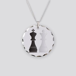 Black king white queen chess Necklace Circle Charm