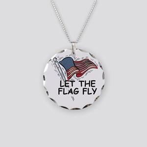 Patriotic American Flag Necklace Circle Charm