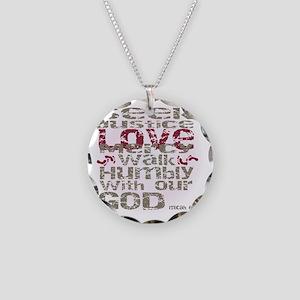 Micah 6:8 Necklace Circle Charm