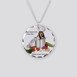 Basset Hound Sous Chef Necklace Circle Charm