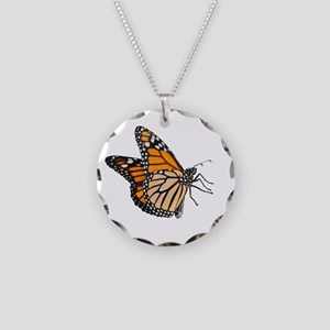 The King Monarch Butterfly Necklace Circle Charm