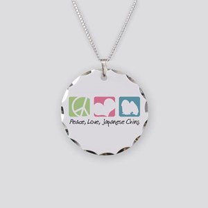 Peace, Love, Japanese Chins Necklace Circle Charm