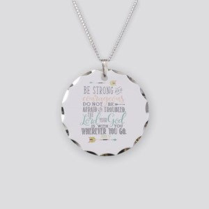 Joshua 1:9 Bible Verse Necklace Circle Charm