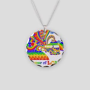 Retro Rainbow Hippie Van Necklace Circle Charm