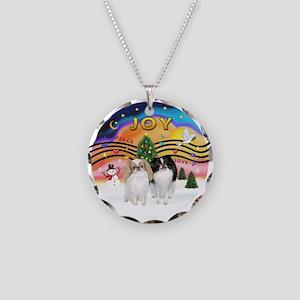 Music2-2Jap Chins (Lem+BW) Necklace Circle Charm