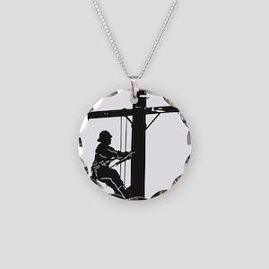 lineman born 1 Necklace Circle Charm
