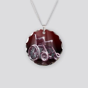 Wheelchair Necklace Circle Charm