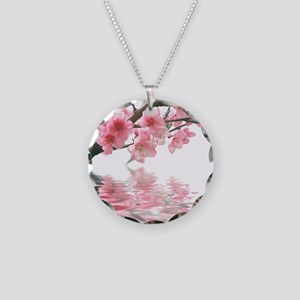 Flowers Water Reflection Necklace Circle Charm