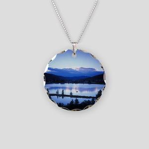 Mountain Lake Necklace Circle Charm