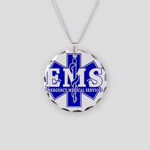 star of life - blue EMS word Necklace Circle Charm