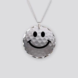 Golf Ball Smiley Necklace Circle Charm