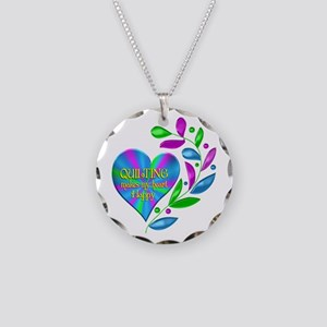 Quilting Happy Heart Necklace Circle Charm