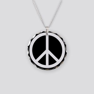 White Peace Sign Necklace Circle Charm