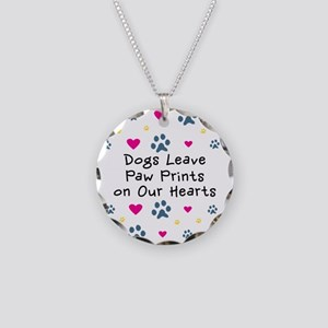 Dogs Leave Paw Prints Necklace Circle Charm