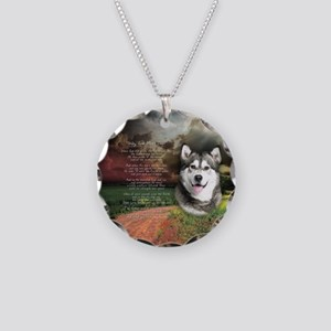 """Why God Made Dogs"" Malamute Necklace Circle Charm"