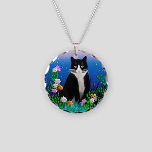 Tuxedo Cat Necklace Circle Charm