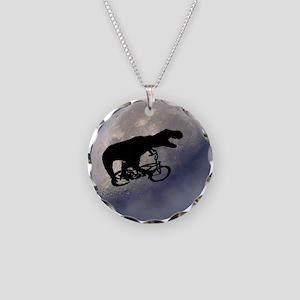 T-Rex vintage moon Necklace Circle Charm