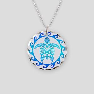 Blue Tribal Turtle Sun Necklace